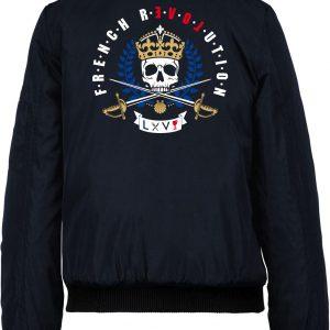 Blouson Top Gun Aviateur Bleu Navy Broderie Louis XVI Gardes