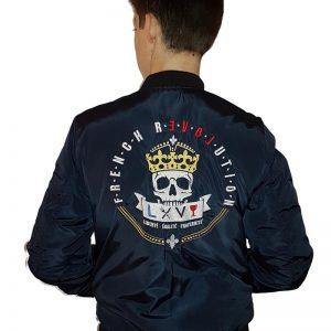 Blouson Top Gun Aviateur Bleu Navy Broderie Louis XVI